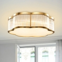 Floral Flush Mount Ceiling Fixture Antiqued Gold Ribbed Glass Flush Light for Dining Room