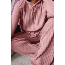 Womens Co-ord Stylish Plain Color Rib Knit Long Sleeve Hooded Sweater Loose Fit Wide Leg Pants Set