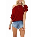Popular T Shirt Solid Color Asymmetric Short Sleeve Oblique Shoulder Relaxed Fit Tee Top for Women