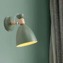 Bell Shaped Bedside Reading Lamp Metal 1 Head Macaron Wall Light Fixture with Pivot