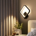 Halo Bedroom Wall Sconce Lamp Aluminum Art Deco LED Wall Mounted Lighting in Grey