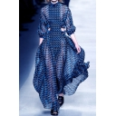 Unique Ladies Dress Allover Print Semi-sheer Cut Out Half Sleeve Mock Neck Maxi A-line Dress in Blue