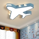 Metal Plane Flush Mount Lighting Kids LED Ceiling Mounted Light with Acrylic Diffuser