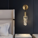 Stone Shaped Wall Light Fixture Simplicity Crystal 1 Head Bedside Wall Hanging Lamp in Gold