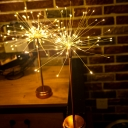 Art Deco Firework Battery Table Light Metal Bedroom LED Night Stand Lamp in Chrome