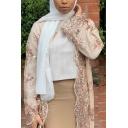 Unique Womens Coat Sequins Applique Long Sleeve Maxi Loose Fit Coat
