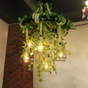 Ball Cage Restaurant Chandelier Industrial Iron 6-Light Hanging Light with Imitation Plant