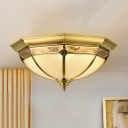Glass Dome Shaped Ceiling Lamp Colonial Chic 3-Light Corridor Flush Mounted Light