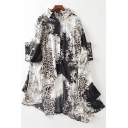 Unique Womens Shirt Batwing Sleeve Spread Collar Button Up Asymmetric Hem Oversize Tunic Shirt Top in White
