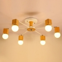 Bare Bulb Semi Flush Light Minimalist Wooden White Ceiling Fixture with Adjustable Joint