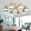 Bell Shaped Living Room Hanging Light Fixture Metal Nordic Style Chandelier with Wood Decor
