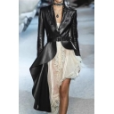 Cool Womens Jacket Plain Leather Long Sleeve Notched Collar Belted Irregular Hem Slim Fit Jacket