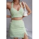 Fancy Womens Set Checkered Print Halter Fit Crop Tank & Mini Sheath Skirt Set in Green