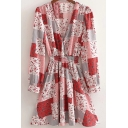 Womens Pretty Dress Ditsy Floral Print Long Sleeve Surplice Neck Gathered Waist Mini A-line Dress in Red