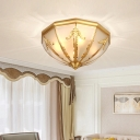 Brass Finish Flushmount Light Colonial Frosted Glass Bowl Ceiling Mounted Light for Living Room