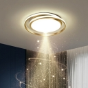 Cycle Flush Mount Fixture Simple Style Acrylic Bedroom LED Ceiling Mounted Light
