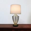 1 Head White Urn Frame Desk Lamp Minimalism Metallic Night Light with Drum Fabric Shade, 11