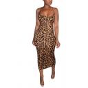Womens Slip Dress Stylish Leopard Skin Print Spaghetti Strap Sleeveless Maxi Bodycon Dress