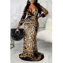 Chic Womens Dress Leopard Skin Chain Pattern Floor Length Long Sleeve Slim Deep V Neck Bodycon Dress