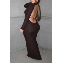 Fashionable Womens Dress Solid Color Rib Knit Backless Mock Neck Slim Fit Long Sleeve Maxi Bodycon Dress