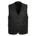 Outdoor Fashion Flap-Pocket Zip Closure Cotton Fishing Vest for Men