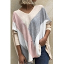 Womens T-Shirt Stylish Color Block Panel V Neck Long Sleeve Relaxed Fit T-Shirt