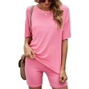 Classic Womens Co-ord Plain Color Elastic Waist Skinny Fitted Shorts Round Neck Half Sleeve Loose T-Shirt Set