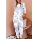 Chic Womens Co-ord Tie Dye Round Neck Short Sleeve T-Shirt Loose Drawstring Waist Cuffed Pants Set