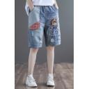 Trendy Girls Shorts Denim Bleach Cartoon Embroidered Elastic Waist Relaxed Fit Shorts in Blue