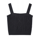 Classic Womens Camisole Plain Color Cable Knit Slim Fit Sleeveless Cropped Cami Top