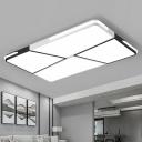 Quad Shape LED Ceiling Lamp Minimalist Acrylic Black and White Flush Mount Light for Bedroom