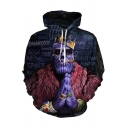 Hip Hop Letter Cool Crown Figure 3D Print Long Sleeve Unisex Navy Hoodie with Pocket