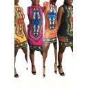 Womens Dress Stylish Polytree Cactus Pattern High Neck Sleeveless Slim Fit Short Bodycon Dress