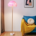 Dome Shaped Feather Floor Light Nordic 1 Head Brass Standing Lamp with Marble Base