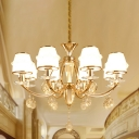 White Glass Tapered Ceiling Chandelier Minimalist Dining Room Pendant Light with K9 Crystals in Gold