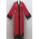 Casual Womens Dress Contrasted Long Sleeve V-neck Tied Waist Maxi A-line Dress
