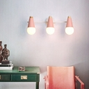Macaron Style Conical Vanity Wall Lamp Metal Bathroom Rotating Sconce Lighting with Exposed Bulb Design