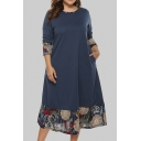 Fashionable Womens Dress Panel Midi Long Sleeve Loose Fit Round Neck A-Line Dress