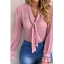 Chic Ladies Shirt Solid Color Chiffon Polka Dot Tied Neck Long Sleeve Regular Fit Shirt Top