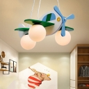 Airplane Baby Room Chandelier Wooden 3-Light Cartoon Hanging Light with Ball White Glass Shade