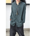 Vintage Womens Shirt Linen and Cotton Floral Embroidery Long Sleeve Spread Collar Button-up Loose Solid Shirt Top