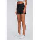 Sports Womens Shorts Solid Color Anti-Emptied Drawstring Waist Slim Fit Yoga Shorts