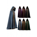 Tribal Cloak Contrast Trim Pleated Button Detailed Open Front Full Length Loose Fitted Hooded Cloak for Men