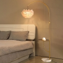 Dome Bedside Floor Lighting Feather 1 Bulb Modern Stand Up Lamp with Tray and Fishing Rod Arm