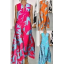 Trendy Womens Dress Flower Allover Print Sleeveless V-neck Long Swing Dress