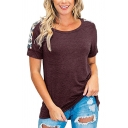 Simple Girls T Shirt Plain Short Sleeve Round Neck Regular Fit Tee Top
