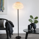 Domed Feather Floor Light Nordic 1-Light Standing Lamp with Foot Switch for Living Room