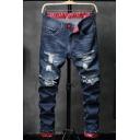 Men's Popular Fashion Printed Rolled Cuffs Dark Blue Ripped Jeans