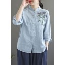 Chinese Style Shirt Floral Embroidered Long Sleeve Stand Collar Button Up Linen Loose Shirt Top