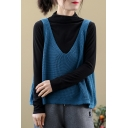 Simple Womens Vest Knitted Solid Color Deep V-neck Relaxed Fit Vest